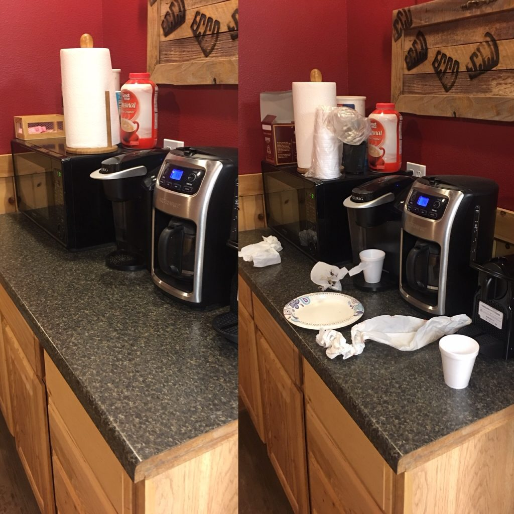 dirty coffee counter clean coffee counter
